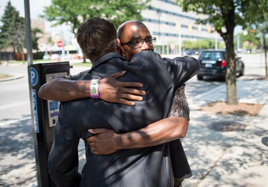 darrell siggers hugs attorney mike waldo